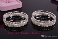 Wholesale Korean hot popular fashion joker beautiful exaggerated personality bracelet two rows of diamonds in a row of pearls jewelry