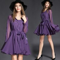 Night Out & Club Mini Dresses Spring Office Wear Women's Dresses Purple Accept Waist Long-sleeved Long Big Pendulum Two-piece Outfit Organza Dress Shirts