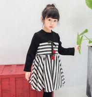 Cheap Girls princess dress 2016 more children in the new season sweet skirt stripe color matching long-sleeved dress