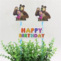 bear cupcakes - Cartoon Cake flags masha bear cupcake cake topper girl baby shower birthday cake baking picks party supplies