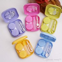 Wholesale Pocket Mini Contact Lens Case Container Travel Outdoor Accessories Easy Carry With Mirror