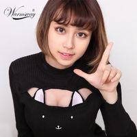 animation computer - Sexy Cat Ears Open Chest Sweaters Animation Cosplay Harajuke Slim Underwears Neko Mimi Style Knit Women Cute WS
