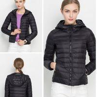Wholesale Down jacket duck down jackets colors Light weight slim women down coats Hooded Hotsale solid short winter