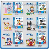 action door - DHL Mini Qute LINKGO Doraemon Random door Iron Man Batman plastic building block brick model Action Figure educational toy