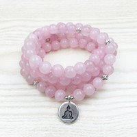 Bohemian beaded rose necklace - 2017 Top Sale Love Rose Quartz Mala Beads Bracelet Women Yoga Jewelry Buddhist Necklace Heart Chakra Lotus Charms Bracelet NS1028