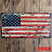 Wholesale 15 CM United States Cities License Plates Metal Car Signs Decorative Wall Plaque Vintage Iron Metal Painting For Bar Decor