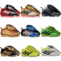 Wholesale Laceless Hot ace PureControl FG soccer shoes Original mens soccer cleats ACE high top football boots Black messi cleats