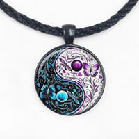 balance domes - Glass Dome pendant Tai chi yin yang balance of nature pendant necklace Glass dome cabochon necklace Fashion Jewelry