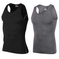 Wholesale 2017 Men s Compression vest Running Base Layer Short Sleeve Tops