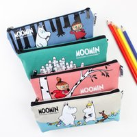 Wholesale New Arrive Cute Moomin Canvas Pencil Bag Stationery Storage Organizer Case dual Glasses Case School Supply Student Prize