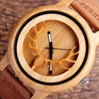 antler table - Retro men and women wooden watch gift boutique antlers pattern leather strap wood table wood watch dial bamboo shell table