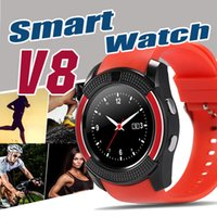 Wholesale V8 Smart Watch Bluetooth Watches With M Camera MTK6261D Smartwatch For Android phone Micro Sim TF card With Retail Package Free DHL