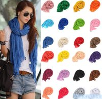 Wholesale 2016 Fasshion Women Folding Solid Color Cotton Blend Scarf Girl Neckerchief Candy Silk Chiffon Scarf Wrap Shawl Pashmina Scarves