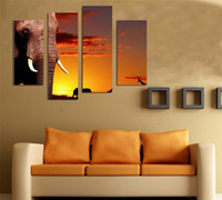 african landscape paintings - LK401 Panel Canvas Paintings Elephant Animal Modern Wall Art Decoration African LandscapeCanvas Wall Art For Home Bar Hub Kitchen Unfram