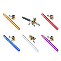 Wholesale New Mini Portable Pocket Fish Pen Aluminum Alloy Fishing Rod Pole Reel