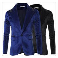 Blazer Men Autumn Winter Fashion Lapel Design Hommes Manteaux décontractés Costumes en velours TAILLE DES ÉTATS-UNIS: XS-XL