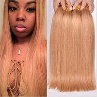 Brazilian Silky Straight # 27 Marrón Claro Cabello Humanos Tramas Miel Blonde Ofertas Paquetes 4Pcs Lote brasileño Virgen Cabello Humano Teje Extensiones