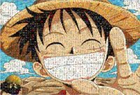 Wholesale Luffy Smiling Face Mosaic Pieces Light Brown Wood One Piece Adult Children Assemble TOYS Gift PFC31