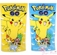 Wholesale Cartoon Pikachu Bath Cotton Towels Bathroom Children Beach Towel Kids Bath Towel Poke Animals Towel LJJP379