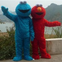 Wholesale Sesame Street Blue And Red Cookie Monster Elmo Mascot costume Fancy Dress Adult size Halloween