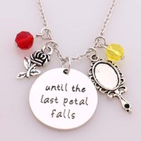 beauty hands charmed - 12pcs Beauty and Beast Necklace quot until the last Petal Falls quot Hand Stamped Letter Pendant with Rose Mirror with Crystal Charms Necklace