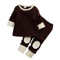 Wholesale Winter season new style solid color infant long sleeve t shirt set leisure wear kids pyjamas