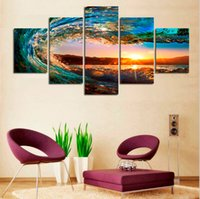 More Panel Digital printing Fashion 5 Panels Modern Seascape Painting Canvas Art Sea wave Landscape Wall Picture For Bed Room