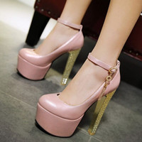 Wholesale Bride pumps wedding party shoes with sky high heel and thick platform shoes for fashion women PP223