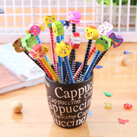 Wholesale korean stationery creative many designs cartoon pencil with erase children gifts students office school supplies
