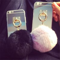 Anillo de metal espejo Baratos-Para el iPhone 7 7 más la caja linda del caso del espejo de la bola peluda cubierta linda de los casos del colgante de la borla de la cuerda del anillo del metal para el iPhone 6 5s 6s más el borde s6 s7 s7 de Samsung