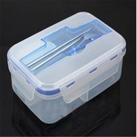 Wholesale YGS Y030 Single Buckle Around Lunch Box Can Microwaveoven Lunch Box Tableware Single Plastic Bento Lunch Boxes Chopsticks Spoon
