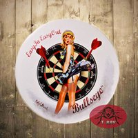 antique round wall plaque - quot Bullseye Pin up Gril quot Tin signs Round Poster Metal Plaque Garage Bar Rustic Wall Plaque Garage Bar Diner