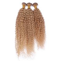 El pelo humano rubio de la miel # 27 teje 3Pcs Extensiones brasileñas rizadas rizadas de las tramas del pelo de la Virgen Extensiones Blonde de la fresa 3 paquetes Tramas dobles 10-30