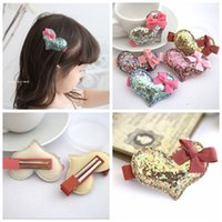 bb heart - C Candy Color Glitter Heart with Bow Baby Gilrs Hair Accessories Solid Cute Heart Bowknot BB Girls Hairpin