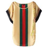 Wholesale new arrival Rayon women s stripe printing cool brand t shirt loose fashion shirts for women big yard size S M L
