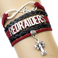 american raiders - Pieces Infinity Love Texas Tech Red Raiders Sports Team Bracelet NCAA Team Scarlet Black Custom Sports Cheer Bracelets