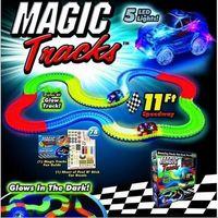 Wholesale 2017 Magic Tracks Bend Flex Racetrack for Kids Amazing Race Track Children Railcar LED Light Up Car Grows In The Dark