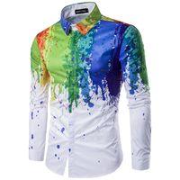 acrylic paint shirt - New men lapels han edition d splash ink splashed paint color long sleeve shirt