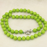 baking delivery - Free delivery Green baking paint glass round beads mm chain necklace for women party gifts clavicle choker high grade jewelry