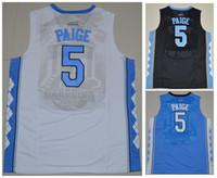 Wholesale North Carolina Tar Heels Marcus Paige Game Elite V Round Neck White Blue Stitched Black Jersey Shirts Uniform Size S XXL