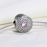 achat en gros de argent plaqué rose perle-Vente en gros Argent sterling 925 non plaqué coeur creux CZ européens Charms perles Fit Pandora Serpent chaîne Bracelet DIY bijoux de mode