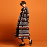 ancient mew - Mew women autumn and winter classic temperament of restoring ancient ways of geometric double breasted long overcoat Ms thick dust coat