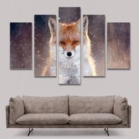 Oil Painting bedroom decoration pictures - 5 Panel Painting Fox Painting Canvas Art Prints Animal Wall Pictures for Living Room Bedroom Home Decoration Unframed