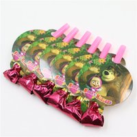 Wholesale kids girls happy birthday party decoration supplies favor masha and bear blowout festival noisemaker blow out