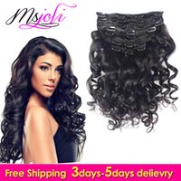 Wholesale Msjoli A Brazilian Virgin Human Hair Clip In Extension loose wave Natural Color Full Head DHL