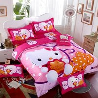Wholesale Home textiles Lovely hello kitty bedding set family Home textiles bed set bedlinen pink color fast shipping