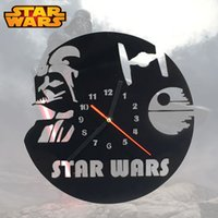 Wholesale Piece Star Wars Death Star Wall Clock X wing Silhouette Clock Handmade Darth Vader Timepiece Wall Art Clock