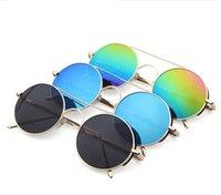 Las gafas de sol punkyes de Steampunk del círculo del espejo retro del vintage circundan las gafas de sol redondas 7 del marco de lente de la vendimia unisex de la manera diseñan LJJK650