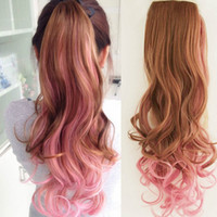 Wholesale Vivid color streaked ponytail piece in the long section of hot pear hair tail tapered fake ponytail