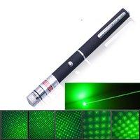 Wholesale 2in1 Star Cap nm mw Green Laser Pointer Pen Star Head Laser Kaleidoscope Light mw Laser Pen LED Pointers Green Light Hot